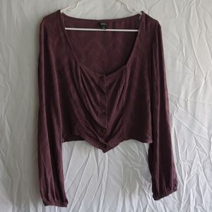Wild Fable Purple Button Up Crop Top (XL)